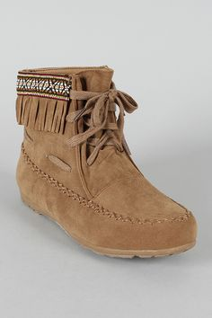 Tribute-12 Fringe Lace Up Moccasin Ankle Bootie