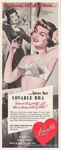 Lovable Girl of the Month  #vintage lingerie #bullet bras #1950s