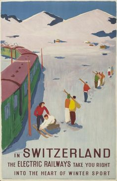 In Switzerland the electric railways take you right into the heart of winter sport-Plakat