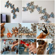 How to DIY 3D Paper Roll Flower Wall Art | www.FabArtDIY.com