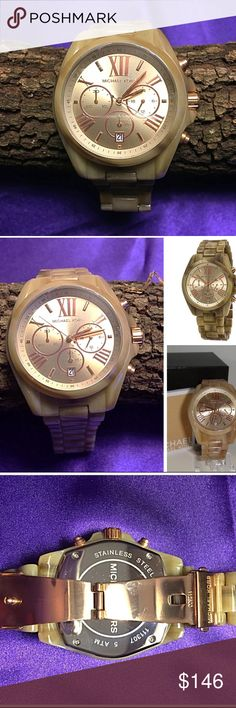 Michael Kors Bradshaw Mid-Size Horn Colored Watch Michael Kors Bradshaw Horn Rose Gold-Tone, Minerial Crystal, Acrylic Chronograph Watch, champagne Dial, Mid-Size, Horn Colored Tortoise Acrylic Bracelet Link. Fold Over Clasp, Double Push Button for Safety. Three-Handed Analog Quartz Movement with Date Display. Creates a Perfectly Published Visage for Any and Every Occasion. No Links Removed. Comes with Original Box and Booklet. Excellent Condition. Michael Kors Accessories Watches