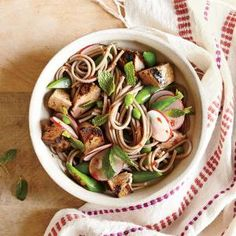 Pork Noodle Salad with Pork, Snap Peas, and Radishes | CookingLight.com #myplate #protein #veggies #wholegrain
