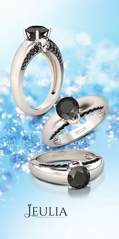 1.26CT Round Cut Black Diamond Rhodium Plated Sterling Silver Skull Ring #Jeulia