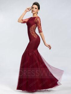 Plain Trumpet Tulle Long Zipper-Up Evening Dress 11037918 - Designer Dresses - Dresswe.Com