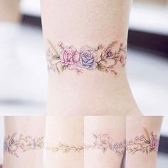 Tattoo: roses for mom. Wrist Band Tattoo, Wrist Bracelet Tattoo, Flower Wrist Tattoos, 4 Tattoo, Flower Tattoo Designs, Rose Tattoos, Body Art Tattoos, Sleeve Tattoos, Tattoo Roses