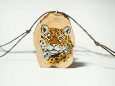 Jaguar. Hand painted unique art jewel  jewelry #jewelry #woodjewelry #wood #pendant #handpainted #painted #artjewelry #finland #art #animal #jewelry #diy #panther #black #blackpanther #cat #bigcat #jaguar