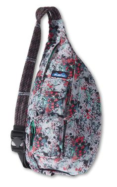 KAVU Rope Sling-Paint Splash-100% Polyester. The KAVU Rope Bag's fraternal twin the only difference is the fabric. Adjustable rope shoulder strap, two vertical zip compartments, two zip key/phone pockets, padded back with KAVU embroidery and ergonomic design to fit the body like a bag should.