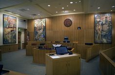 US District Court, McKinleyville, CA •New Deal Murals c1930 •Court Seal in Old Growth redwood 2013 by Woodlab/Business Image Group