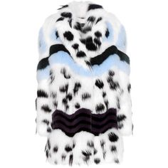 Fendi Printed Fur Coat ($26,180) ❤ liked on Polyvore featuring outerwear, coats, jackets, white, white fur coat, multi colored fur coat, multi colored coat, colorful coat and colorful fur coat