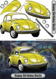 Happy Birthday Uncle Volkswagen Beetle Classic Car Yellow on Craftsuprint…