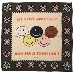 Moschino Vintage 1990s Let's Live Together Racial Harmony Smiley Face Silk Scarf