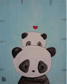e7125d54a668 Items similar to Panda  Panda Mother and Baby Panda Love on Blue Background  on Etsy
