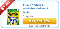 Even more savings for your vacation jar! $1.00 off Crayola Washable Markers 8 count