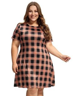 Women's Casual Tunic Plaid Geometric Print Jersey A-line Dress Plus Size Business Attire, Tartan, Plaid, Outfits Plus Size, Casual Summer Dresses, Stretch Dress, Plus Size Women, Dress Outfits, Short Sleeve Dresses