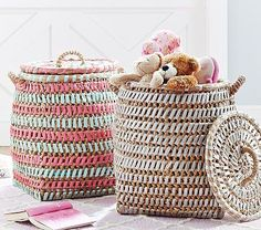 Woven Ribbon Basket in grey for the sitting room.  A place to store misc. toys for the times you're playing on the first floor.