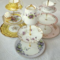 Purple Violets & Gold Vintage China 3 Tiered Centerpiece Stand Display for Mad Hatter Party, Bridal Shower, Wedding Cupcakes or Jewelry Holder by High Tea For Alice