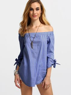 Shop Blue Striped Off The Shoulder Tie Cuff Blouse online. SheIn offers Blue Striped Off The Shoulder Tie Cuff Blouse & more to fit your fashionable needs. Striped Off Shoulder Top, Off Shoulder Tops, Diy Fashion, Fashion Outfits, Fashion Design, Mode Style, Blouse Designs, Blouses For Women, Casual Outfits