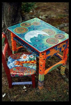 Boho furniture, accessories and design ideas Here I present you some possibilities . - Boho furniture, accessories and design ideas Here I present you some furniture, accessories and dec - Art Furniture, Funky Furniture, Colorful Furniture, Repurposed Furniture, Furniture Makeover, Colorful Chairs, Painting Furniture, Chair Painting, Furniture Design