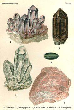 ♦◊ Gems ◊ Stones ◊♦ Minerals Crystals Quartz Amethyst Minerals by VintageInclination Crystal Illustration, Rose Quartz Color, Rocks And Minerals, Stones And Crystals, Wall Art Prints, Gemstones, Drawings, Quartz Rock, Smoky Quartz