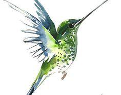 Vuelo de Colibrí, 12 X 9 en acuarela original, vuelo minimalista arte de pájaro verde