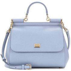 Dolce & Gabbana Sicily Medium Leather Shoulder Bag (34.820 ARS) ❤ liked on Polyvore featuring bags, handbags, shoulder bags, blue, blue handbags, blue shoulder bag, blue leather handbags, leather handbags and genuine leather purse