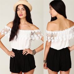 Stone cold fox marita lace off shoulder top Preloved and looking for a new home. In good condition with minor flaws as pictured. Small stains on top of lace and on left side of top. Stone Cold Fox Tops