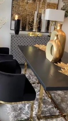 Gold Dining Room, Luxury Living Room, White Living Room Decor, Black And Gold Living Room, Gold Room Decor, Luxury Dining Room, Modern Living Room, Black Living Room Decor, Gold Living Room Decor