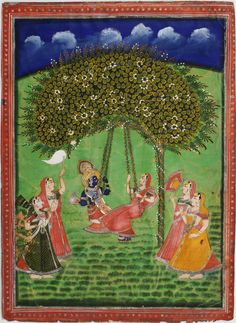 Krishna and Radha swinging from a tree, gopis in attendance. Nathdwara, early - mid-century. Gouache, gold and silver on wasli. 34.7 x 25.2cm