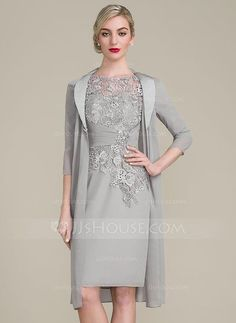 Sheath/Column Scoop Neck Knee-Length Ruffle Beading Zipper Up Sleeves 1/2 Sleeves Yes Silver General Plus Chiffon Lace Mother of the Bride Dress