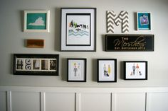 Showcase your family & things that you love in a foyer gallery wall! Love those family prints!