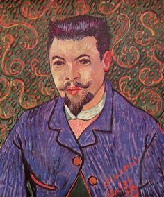 Vincent Willem van Gogh.  Porträt des Doktor Rey. 1889, Öl auf Leinwand, 64 × 53 cm. St. Petersburg, Eremitage. Niederlande und Frankreich. Neo-Impressionismus.  KO 01576
