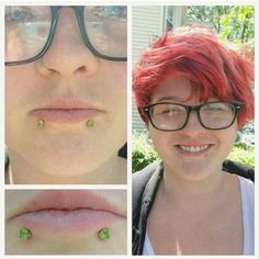 Check out these ADORABLE paired lip piercings! Sporting some prong set peridot gemstones (a totally underrated color imo) from , I did these a little while ago and recently downsized. Lip Piercings, Body Mods, Body Jewelry, Peridot, Lips, Color, Fashion, Moda, Body Modifications