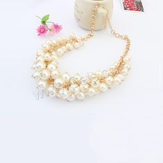 #Plastic #Pearl #Necklace, with #rhinestones,  the best choice for young girl.