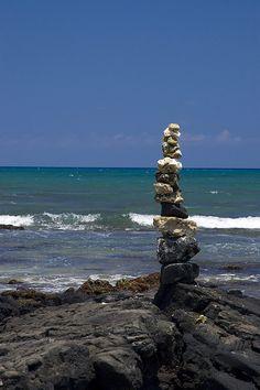 stone stacks on beach