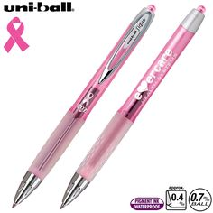 Promotional Uni-ball 207 Pink Ribbon Awareness Gel Pen | Customized Retractable Plastic Gel Ink Pens | Promotional Uniball Pens
