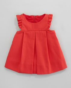 Plain Pincord Flutter-Sleeve Dress, Red, 3-9 Months by Florence Eiseman at Neiman Marcus.