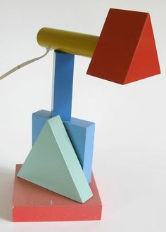 Post Modern Geometric Memphis / Sottsass Style Table Lamp Japan 1980's