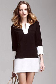 Constrasting Black White Dress#Romwe