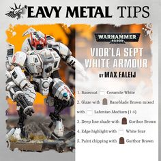 recently asked us to show the 'Eavy Metal method of painting the Vior'la Sept armour for the T'au Empire, so we talked to the… Tau Warhammer, Warhammer 40k Figures, Warhammer Paint, Warhammer 40k Miniatures, Painting Recipe, Painting Tips, Figure Painting, Tau Empire, Model Hobbies