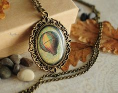 Hot air balloon vintage necklace - green pendant, resin jewelry, gift for her for girl, long chain brass, history print - made to order on Etsy, $25.00