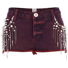 Red clavos cortos de mezclilla cadena - pantalones cortos de mezclilla pantalones cortos - las mujeres -