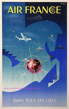 Badia Vilata 1951 Air France Dans tous les ciels 62,5x99 Perceval by estampemoderne.fr, via Flickr