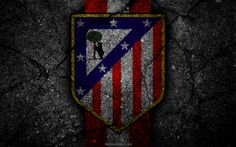 Download wallpapers Atletico Madrid, logo, art, La Liga, soccer, football club, LaLiga, grunge, Atletico Madrid FC