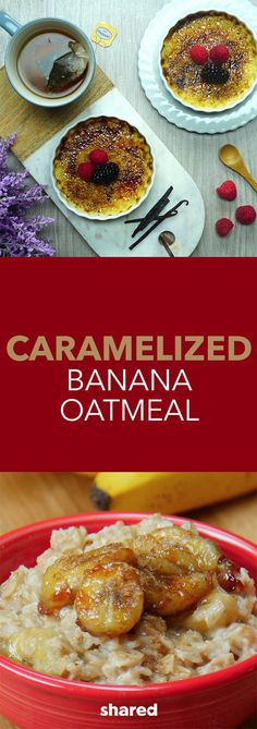 The secret to delicious oatmeal is actually in the toppings we add to it. In this tasty recipe, we add caramelized bananas, maple syrup, cinnamon, vanilla and chocolate chips.  For a fast, easy and flavorful breakfast that leaves you feeling full for longer, oatmeal should be your morning go-to.  This simple recipe contains 644 Calories per serving and makes 2 servings.