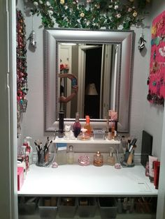 Makeup vanity I created out of a small coat closet next to my new bathroom. Very handy for getting ready quickly...