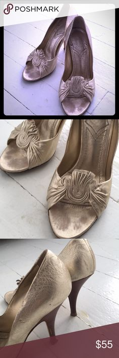 Baldinini Gold Heels Stunning shoes in a pale gold. Open toed with ruffles. Pristine heels, no signs of damage and worn perhaps 3 times. Perfect for holiday parties with a flute of Champagne! Euro 37. Made in Italy. Baldinini Shoes Heels