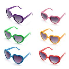 Party Pack of 6 Seekingtag Colorful Jumbo Blue Lens Sunglasses for Costumes Cosplay Halloween Party Fun Party Favor Photo Booth Props 10 X 4 10 X 4