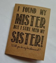 Will you be my Bridesmaid Card Funny by invitesbythisandthat #bridesmaids