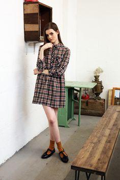 Charlotte rust check shirt smock dress
