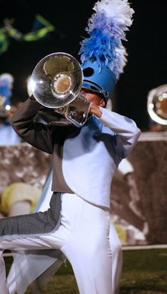 Drum Corps 2014 | pchagnon images | Blue Knights; Uniforms by The Band Hall Marching Music, Marching Bands, Play Trumpet, Mellophone, Band Uniforms, Fishnet Leggings, Drum Major, Drum Corps International, Drumline